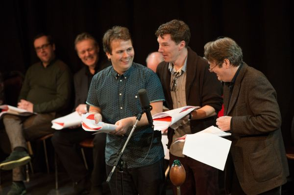 Jonh-Finnemore-Benedict-Cumberbatch-and-Roger-Allam-on-stage-for-final-recording-of-BBC-Radio-4s-Cabin-Pressure-230214-1